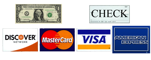 we accept cash, check, Disocer cards, MasterCard, Visa, and American Express as payment methods